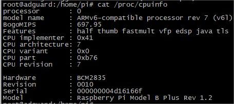 Cpuinfo Raspberry